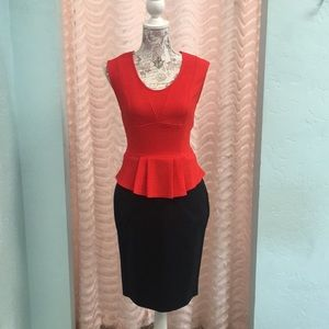 Skies are Blue Sleeveless Red Skirted Top